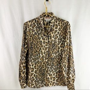 Maggy London Silk Tiger Print Blouse New Condition